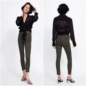 NWT Zara Size 2 Leopard Print Hi-Rise Skinny Jeans